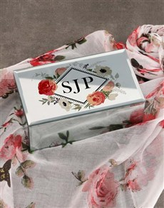 gifts: Personalised Peony Trinket Box and Scarf!
