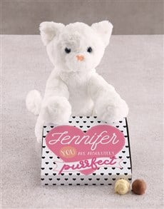 gifts: Personalised Purrfect  Cat Teddy With Chocs Hamper!