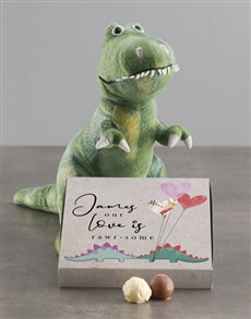 gifts: Personalised Dino Teddy Love And Chocolate Tray!