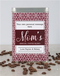 gifts: Personalised Red Flake Moms Blend Coffee Tin!