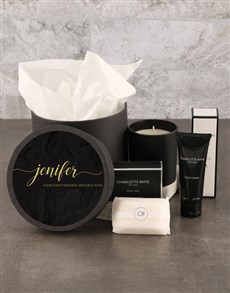 gifts: Personalised Chic Charlotte Rhys Pamper Hat Box!