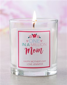 gifts: Personalised Pink One In A Million Mom Candle!