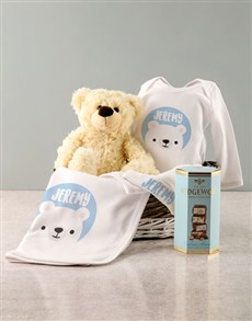 gifts: Personalised Blue Bear Baby Clothing Gift!
