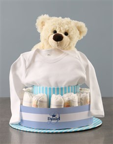 gifts: Personalised Teddy Bear Boy Banner Nappy Cake!