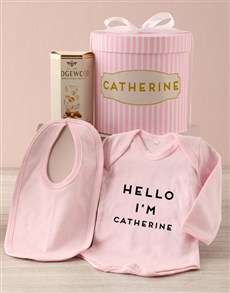 gifts: Personalised Pink Striped Baby Clothing Hat Box!