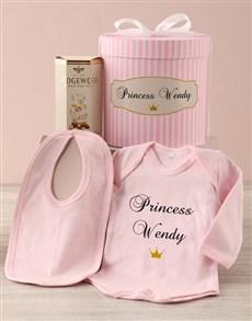 gifts: Personalised Pink Princess Baby Clothing Hat Box !