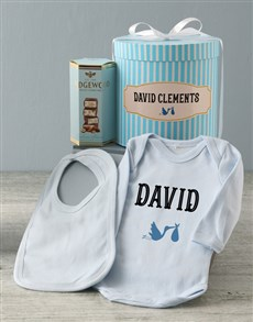 gifts: Personalised Blue Stork Baby Clothing Hat Box!