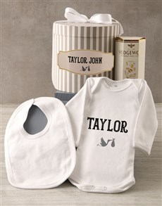 gifts: Personalised Grey Stork Baby Clothing Hat Box!