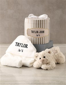 gifts: Personalised Grey Bath Time Striped Hat Box Hamper!
