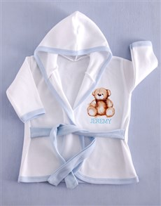 gifts: Personalised Blue Bear Baby Gown!