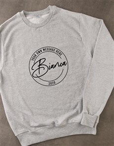 gifts: Personalised Stamp Grey Sweatshirt!