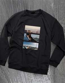 gifts: Personalised Photo Triptych Black  Sweatshirt!