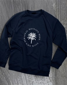 gifts: Personalised Palm Tree Navy Sweatshirt!
