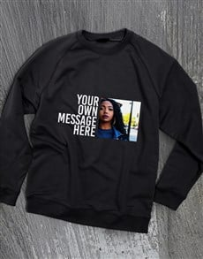 gifts: Personalised Photo Message Black Sweatshirt!