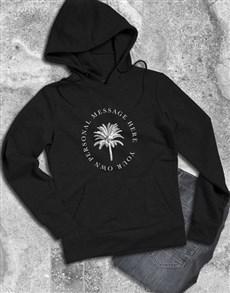 gifts: Personalised Palm Tree Black Hoodie!