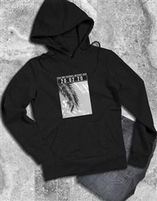 gifts: Personalised Memory Time Black Hoodie!