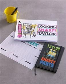 gifts: Personalised Yellow SpongeBob Stationery Set!