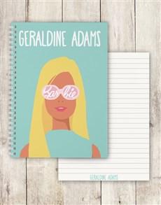 gifts: Personalised Blonde Barbie Notebook!