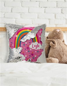 gifts: Personalised Rainbow Sequin Cushion!