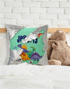 gifts: Personalised Dinosaur Sequin Cushion!