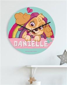 gifts: Personalised Pink Paw Patrol Kids Clock!
