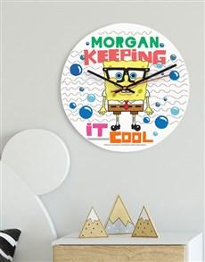 gifts: Personalised SpondgeBob Kids Clock!