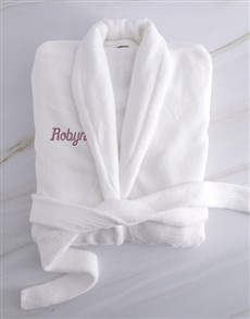 gifts: Personalised Ladies White And Pink Fleece Gown!