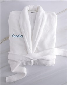 gifts: Personalised Ladies White And Blue Fleece Gown!