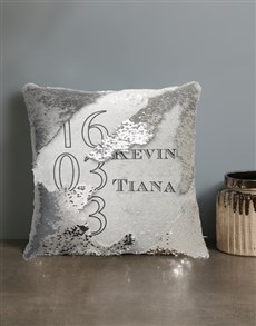 gifts: Personalised Couples Sequin Cushion!