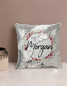 gifts: Personalised Love You Sequin Cushion!