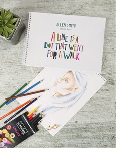 gifts: Personalised Dot Saying Sketch Book !