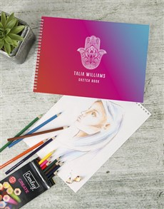 gifts: Personalised Purple Hamsa Sketch Book !