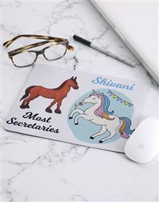 gifts: Personalised Unicorn Secretary Mouse Pad!