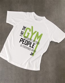 gifts: Personalised White Hit The Gym Dry Fit T Shirt!