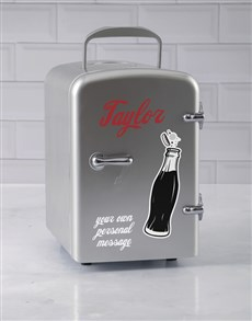 gifts: Personalised Cola Silver Desk Fridge!