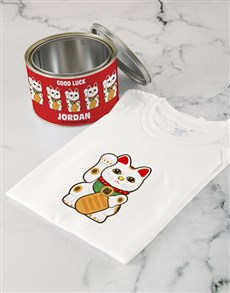 flowers: Personalised Lucky Cat T Shirt Tin!