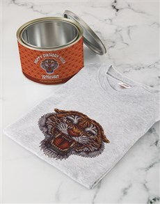 gifts: Personalised Birthday Tiger T Shirt Tin!