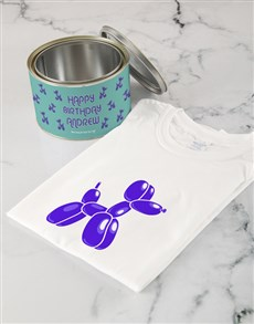 gifts: Personalised Birthday Balloon T shirt Tin!
