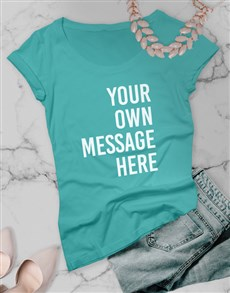 gifts: Personalised Aqua Blue Ladies T Shirt!