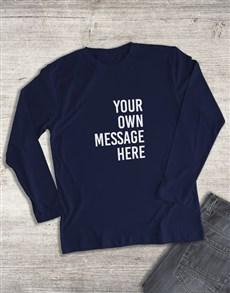 gifts: Personalised Navy Ladies Long Sleeve Shirt!