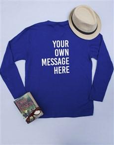 gifts: Personalised Blue Mens Long Sleeve Shirt!