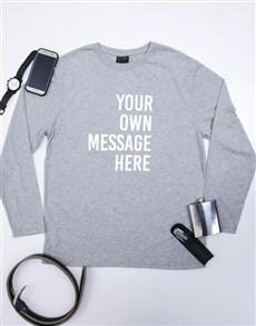 gifts: Personalised Grey Mens Long Sleeve Shirt!