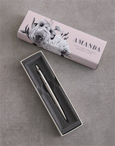 gifts: Personalised Pink Floral Parker Pen Gift Set!