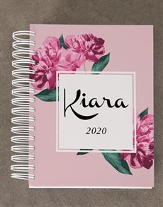 gifts: Personalised Pink Floral Diary Set!