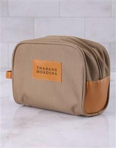 gifts: Personalised Mens Tan Brown Wash Bag!