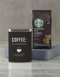 gifts: Personalised Starbucks Survival Juice Coffee Tin!