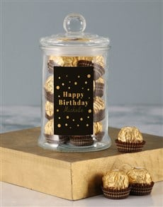 gifts: Personalised Gold Birthday Ferrero Candy Jar!