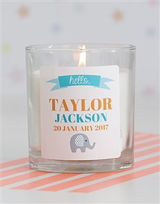 gifts: Personalised Hello New Baby Generic Candle!