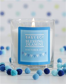 gifts: Personalised Baby Boy Candle!