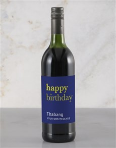 gifts: Personalised Blue Birthday Rietvallei Wine!
